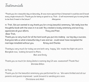 Reviews and testimonials for Trish Sargent, Sunshine Coast and Brisbane Civil marriage celebrant
